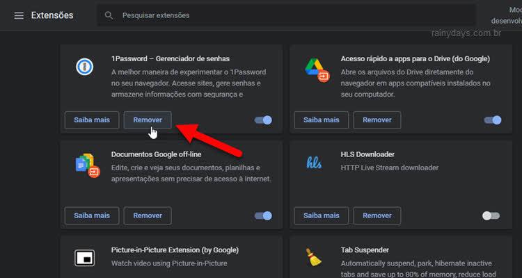 botão Remover para apagar extensão do Chrome