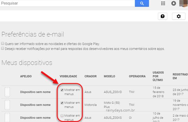 Como Remover dispositivos da Google Play
