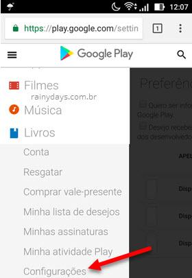 configurações Google Play navegador Android