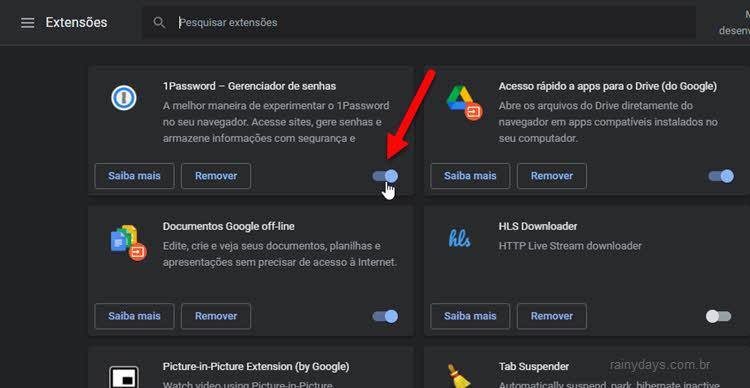 Desativar extensão do Chrome sem remover
