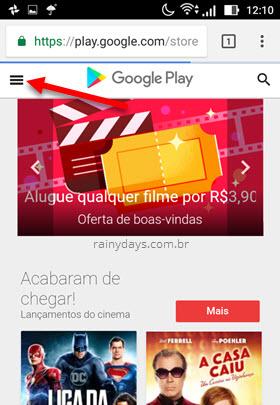 ícone três traços Google Play navegador Android