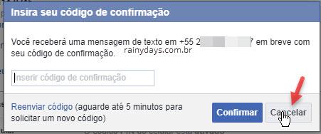 insira código de confirmação Facebook