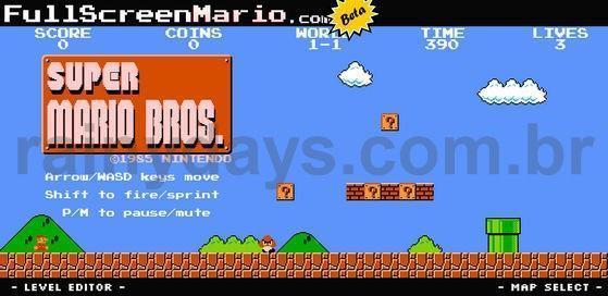 Jogo Super Mario Bros Completo em HTML5