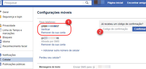 Não consigo confirmar celular no Facebook por SMS