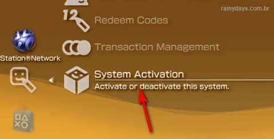 Ativação do sistema PSP