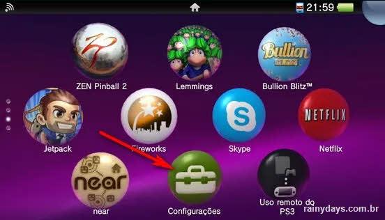 configurações PS Vita