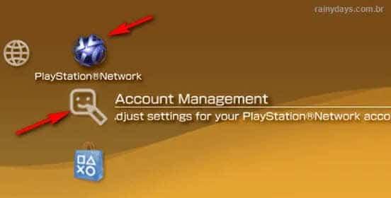Playsation Network gerenciamento de conta PSP