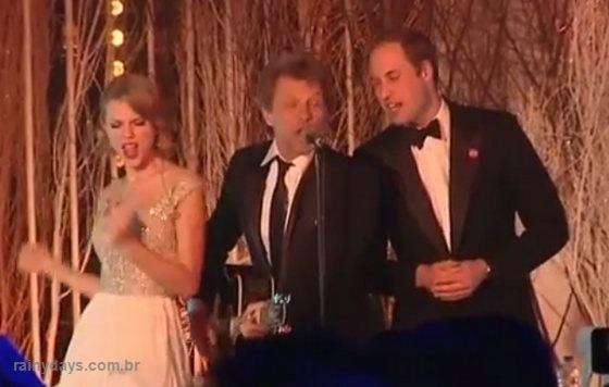 Príncipe William cantando com Bon Jovi e Taylor Swift
