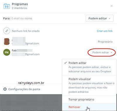 remover compartilhamento de pasta no Dropbox 1