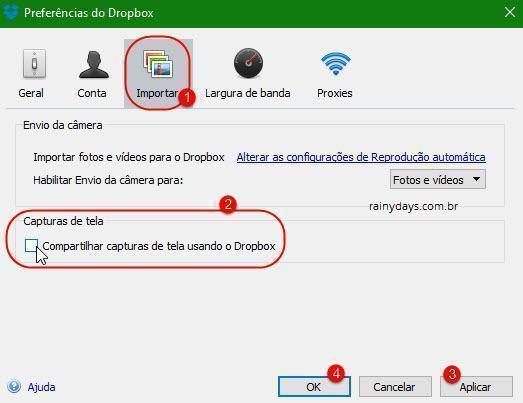 Salvar captura de tela no Dropbox automaticamente 2