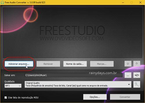 Adicionar arquivos no Free Audio Converter