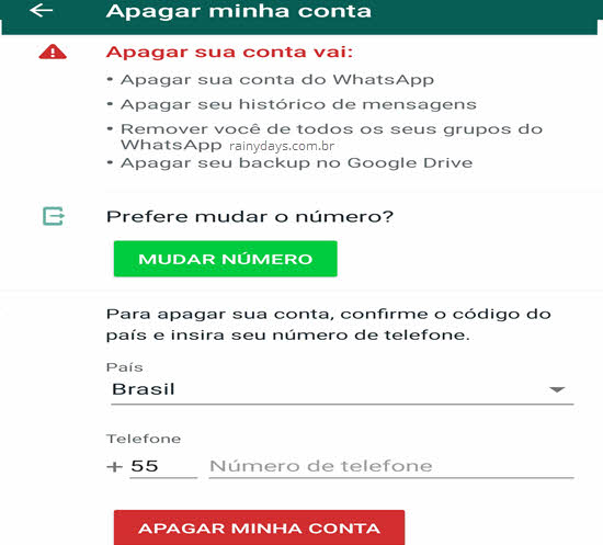 Como excluir conta do WhatsApp permanente