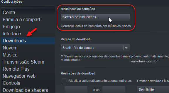 configuraçôes Downloads Pastas de biblioteca Steam