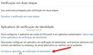 Verificação em duas etapas da conta Microsoft (Outlook)