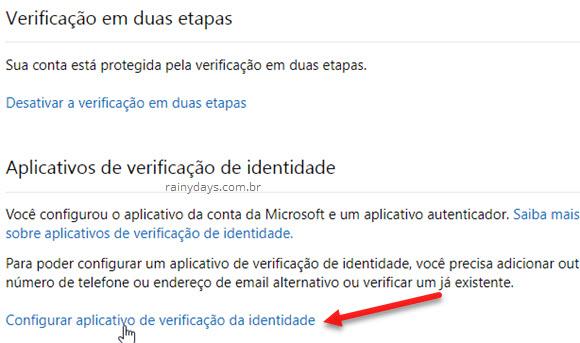 Configurar aplicativo de verificação da identidade Microsoft