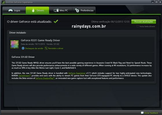 GeForce Experience download drivers NVIDIA automatico