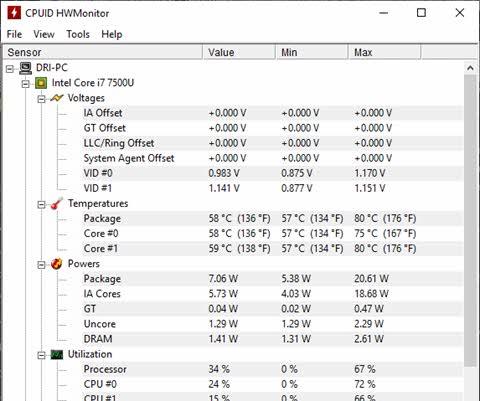 HWMonitor medidor de temperatura do Windows, voltagem e velocidade cooler