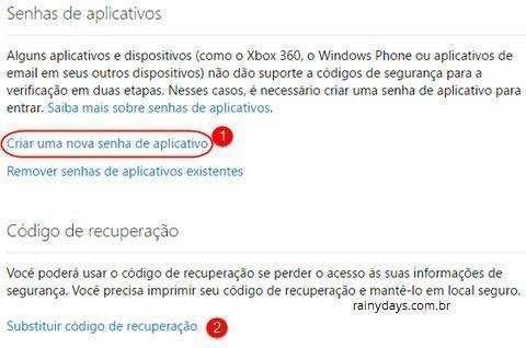 senha de apps e código de recuperação Microsoft