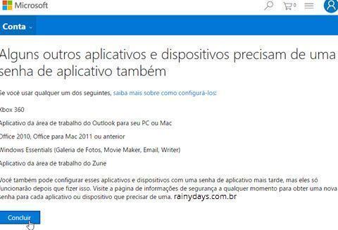 Verificação em duas etapas da conta Microsoft 5