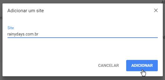 adicionar site paa permitir ou bloquear pop-up Chrome