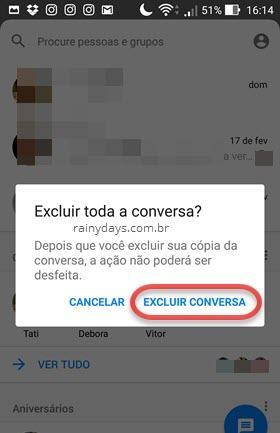 apagar conversa do Messenger