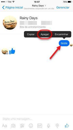Apagar mensagem de uma conversa Messenger iOS