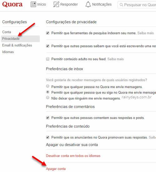 configurações de privacidade apagar conta Quora