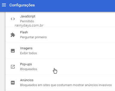 Configurações pop-ups Chrome