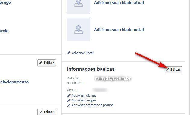 Esconder Data de Nascimento no Facebook 1