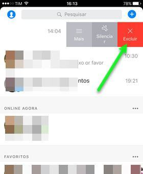 excluir conversa do Messenger iPhone