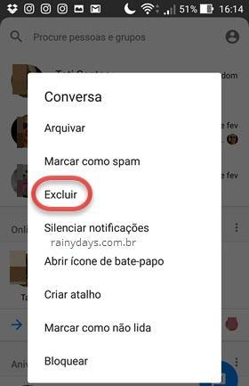 excluir conversa do Messenger