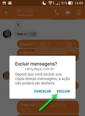 Excluir mensagens do aplicativo Messenger no Android