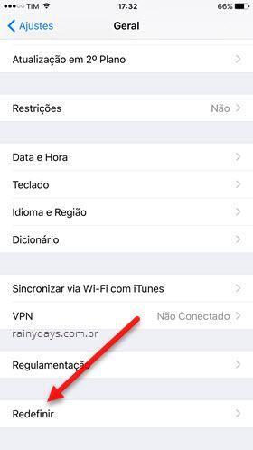 Geral Redefinir iPhone