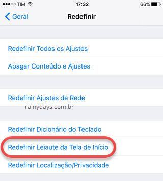 Restaurar layout da Tela Inicial do iPad e iPhone