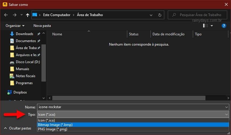 Salvar arquivo como ICO, BMP ou PNG com IconViewer