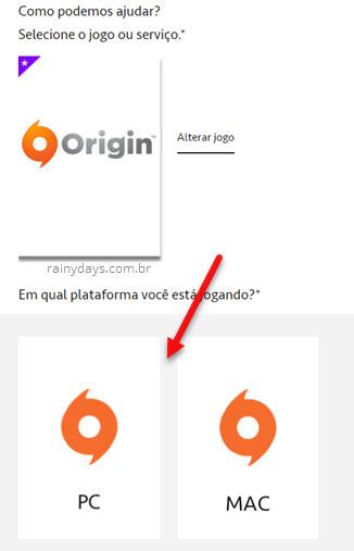 Selecionar plataforma de jogo Origin EA