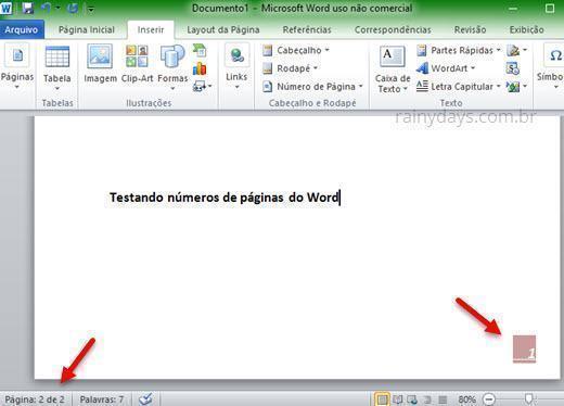 tirar número da primeira página do Word 8