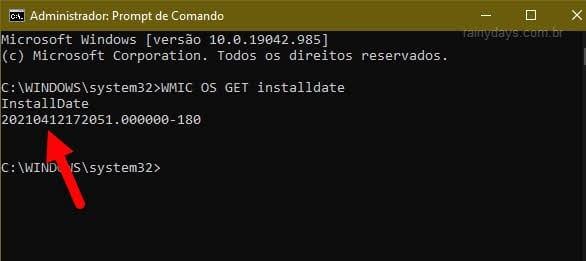 Ver data e horário Windows instalado usando comando WMIC