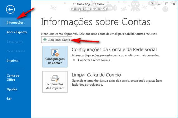 Adicionar Gmail no Outlook 2013