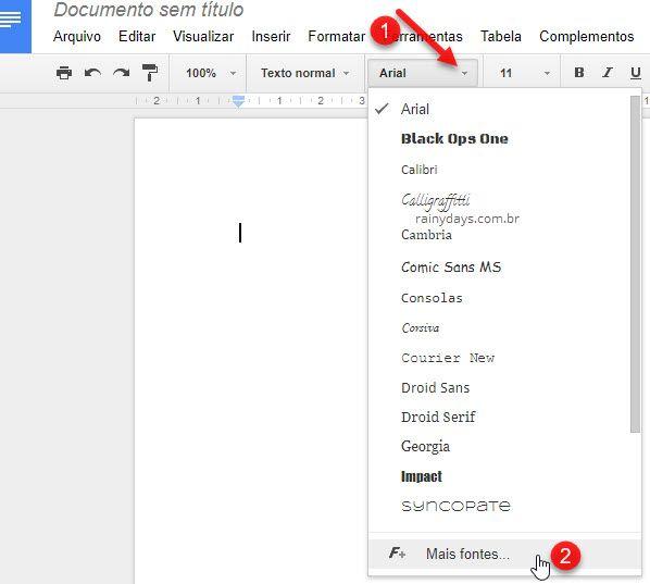 Como adicionar novas fontes no Google Docs para usar no Drive