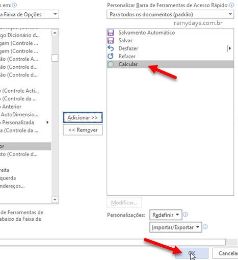 Barra de ferramentas de acesso rápido Word