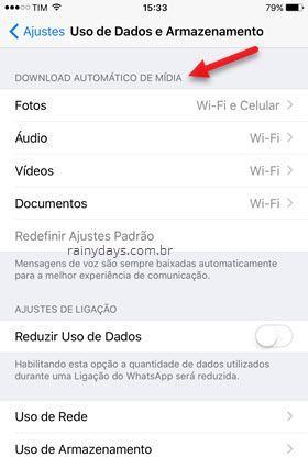 bloquear download automático de mídia WhatsApp iOS