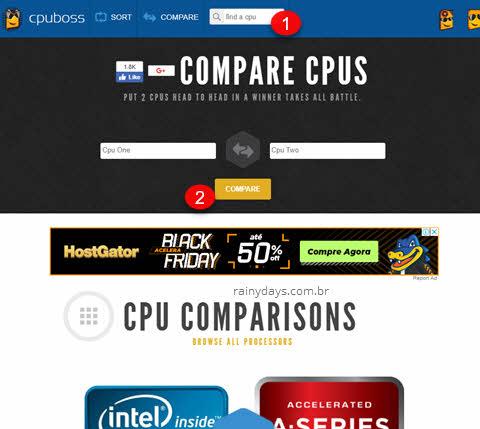 CPUBoss, sites para comparar processadores