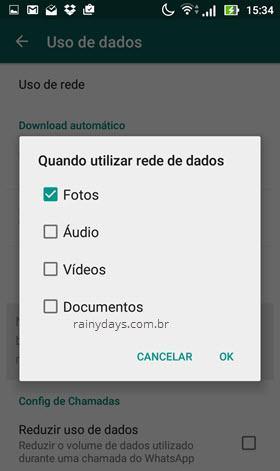 download automático rede de dados WhatsAPp