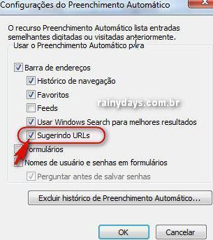 Fazer Internet Explorer parar de sugerir sites 2