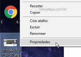 menu contexto propriedades de imagem no Windows