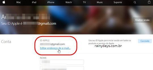 Editar endereço de email na página da APple