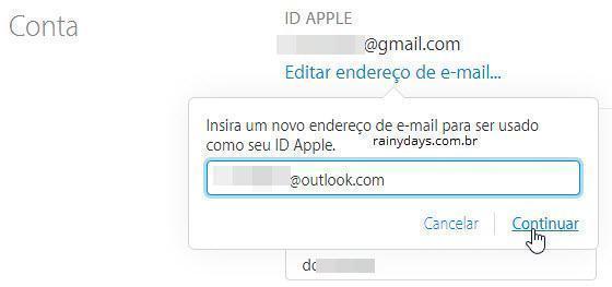 mudar email associado à Apple ID 3
