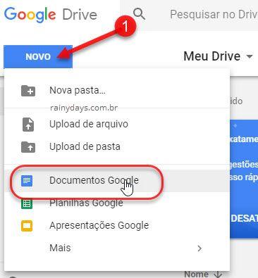 novo documentos Google Drive