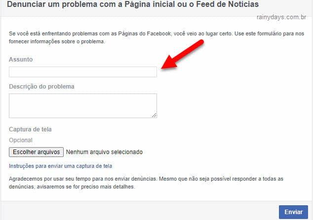 Problema com Página Inicial e Feed de Notícias no Facebook